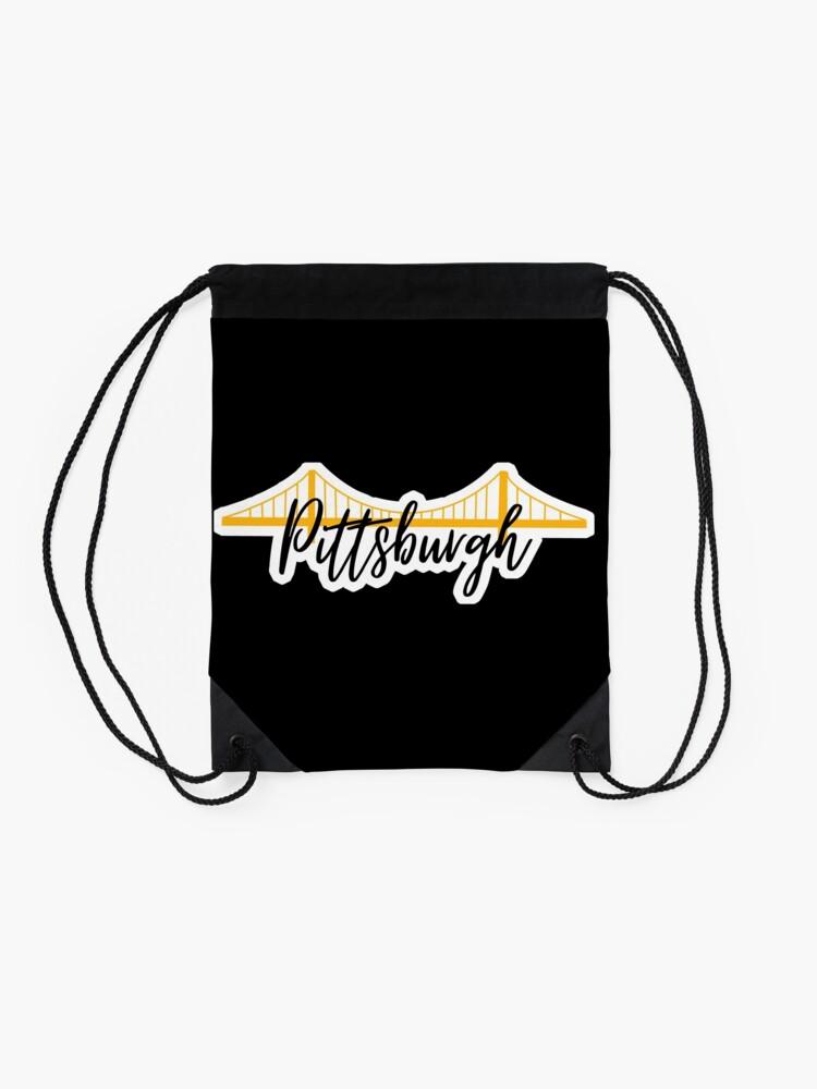 Alternate view of Pittsburgh Bridge City Pride Black Drawstring Bag