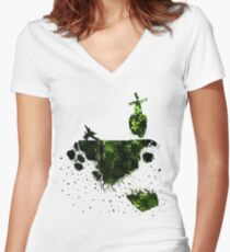 floating earth Women's Fitted V-Neck T-Shirt