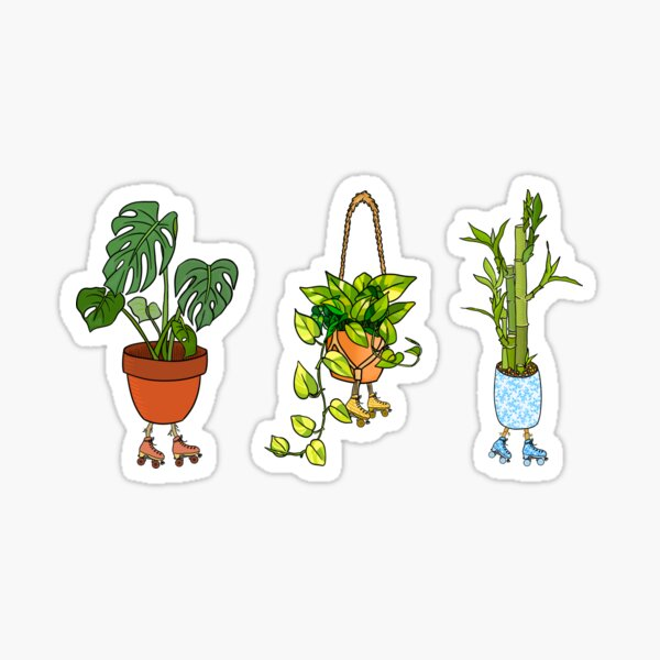 Roller Skating Potted House Plants Glossy Sticker