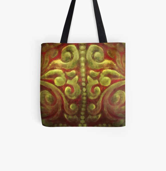 Painterly Red and Gold Ornate Armor Pattern All Over Print Tote Bag