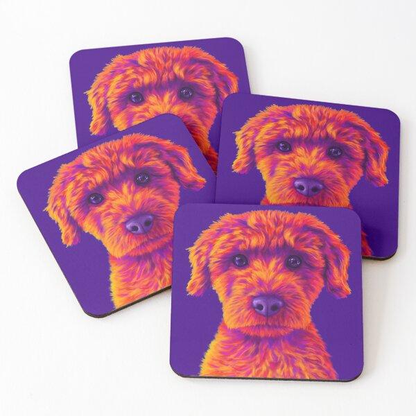 Orange and Purple Mini Poodle Coasters (Set of 4)