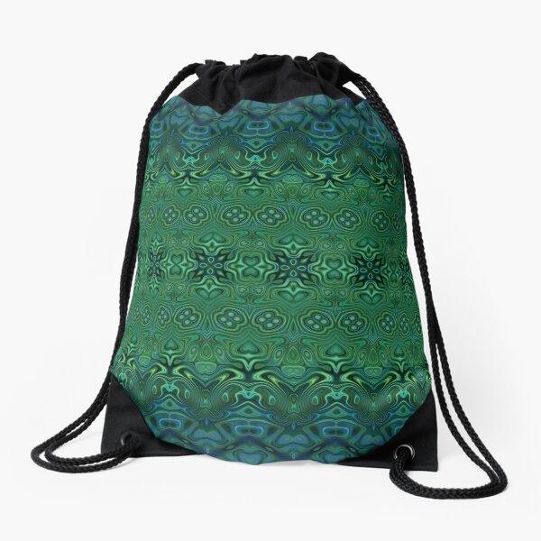 Boho Blue Teal Stripes Pattern Drawstring Bag