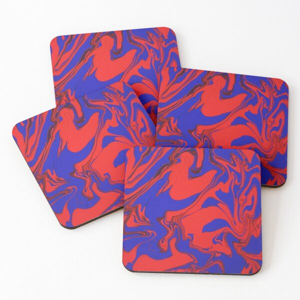 Red and Blue Drip Coasters (Set of 4)