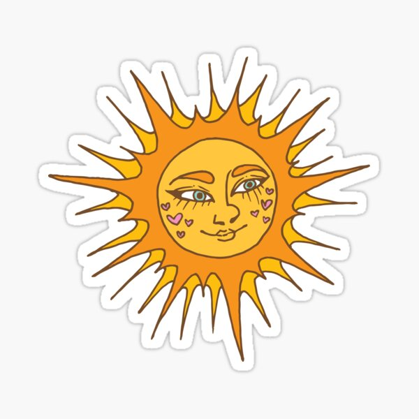 Sun with A Face Sticker