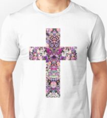 Floral Kaleidoscope - Cross Unisex T-Shirt