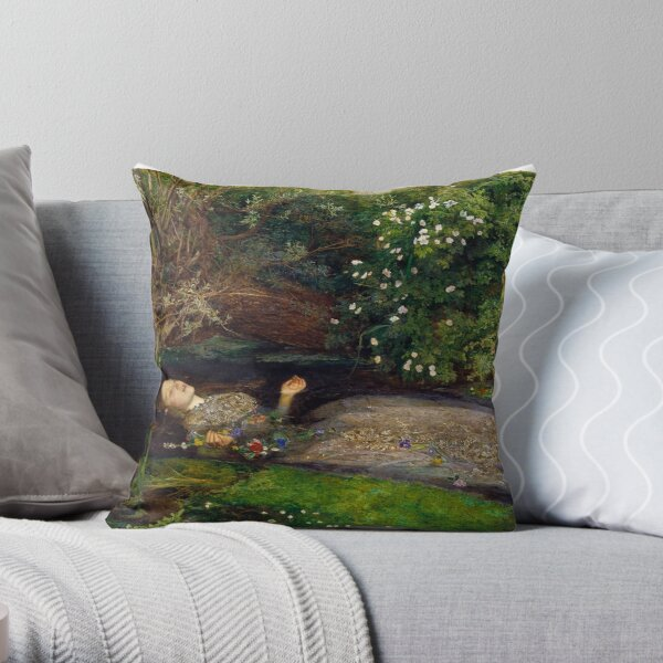 Ophelia Painting By John Everett Millais Throw Pillow By Fineearth Redbubble
