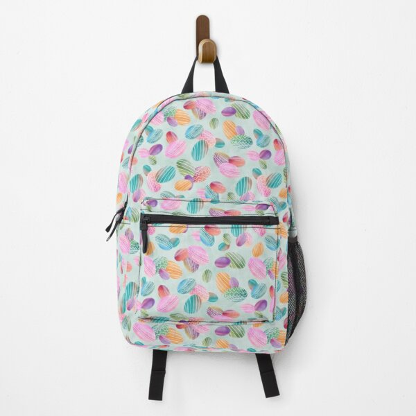Easter eggs Watercolor eggs on green wash background Backpack