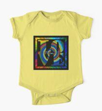 retro color spiral square love t (large back) Kids Clothes