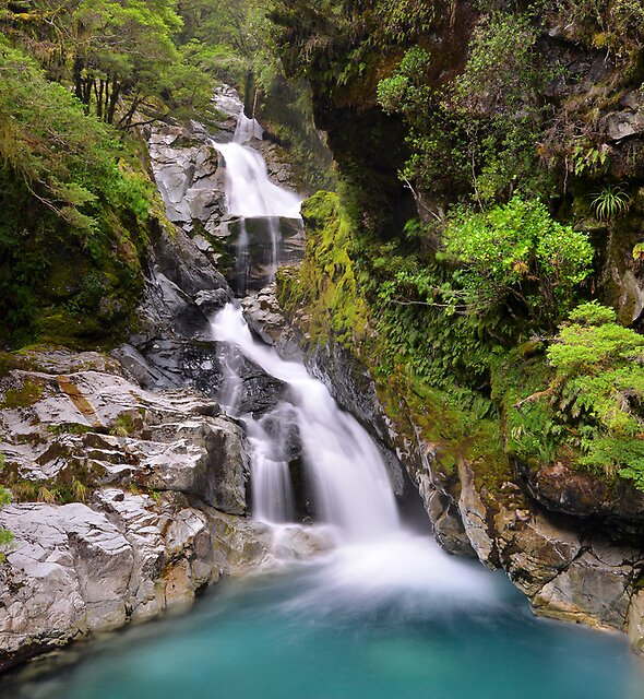 Waterfall on the way to Milford Sound by Alex Stojan