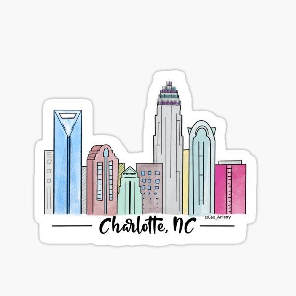 Charlotte, NC Skyline  Sticker