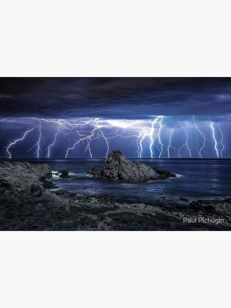Lightning over Sugarloaf Rock by paulmp