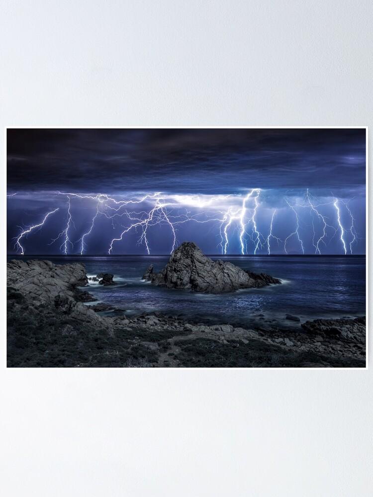 Alternate view of Lightning over Sugarloaf Rock Poster