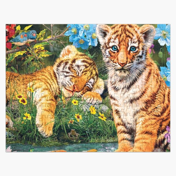 Tiger Cubs Watercolor  Jigsaw Puzzle