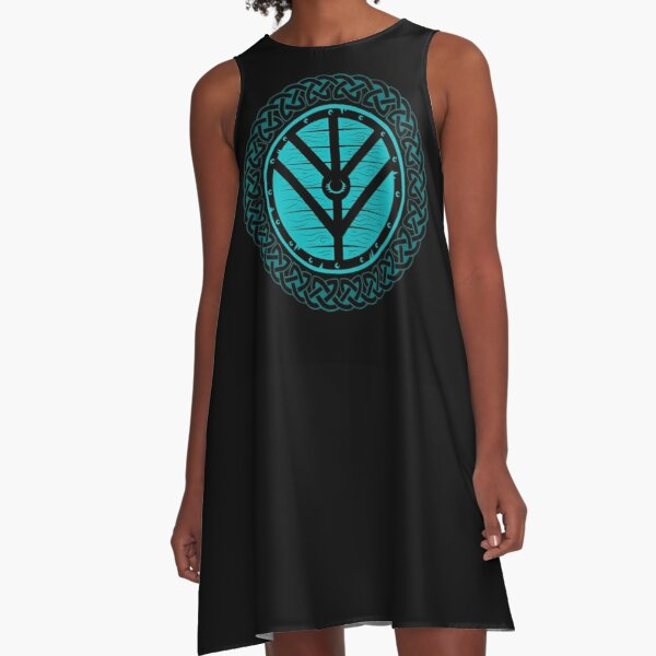 Viking Shield Maiden Norse Knot Work, Teal Shield A-Line Dress