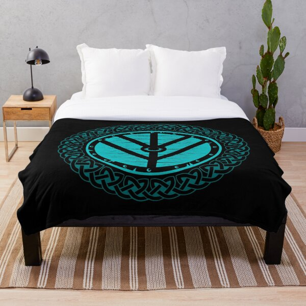 Viking Shield Maiden Norse Knot Work, Teal Shield Throw Blanket