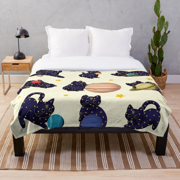 Planet Cats Throw Blanket