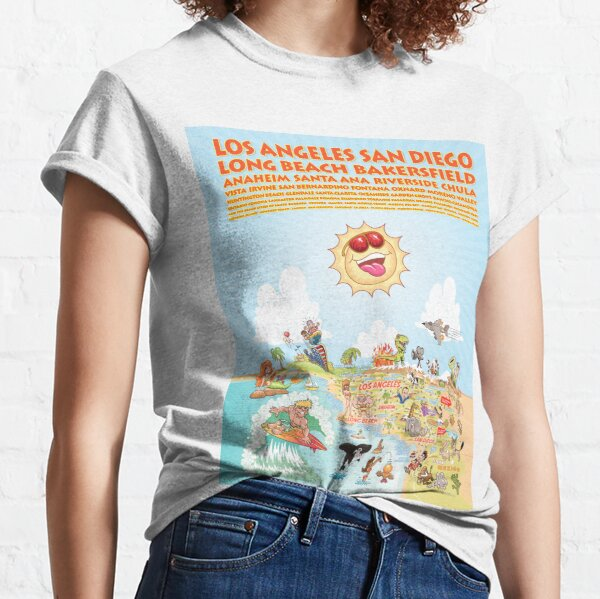 Cartoon Map of Southern California with List of Cities Classic T-Shirt