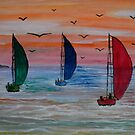 Sailing in the bay by George Hunter