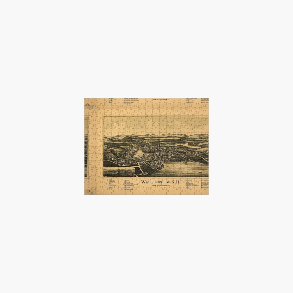 Panoramic Maps Wolfeborough NH Lake Winnipesaukee Jigsaw Puzzle