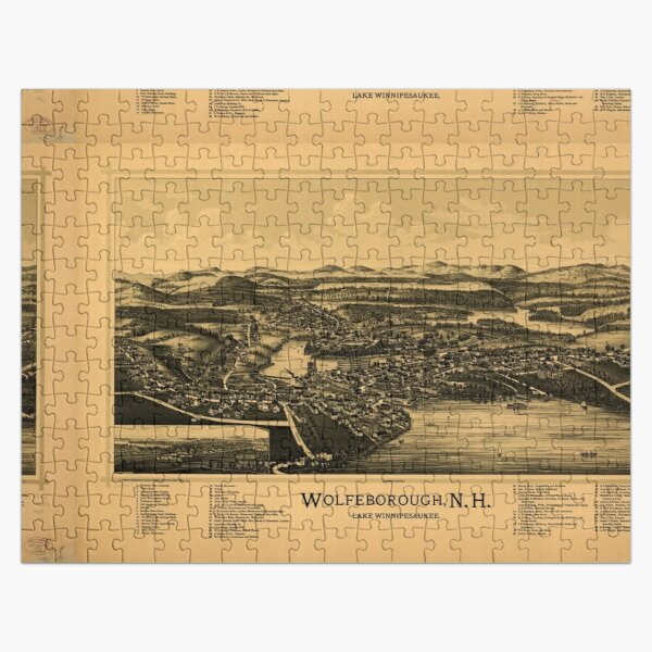 Panoramic Maps Wolfeborough NH Lake Winnipesaukee Puzzle