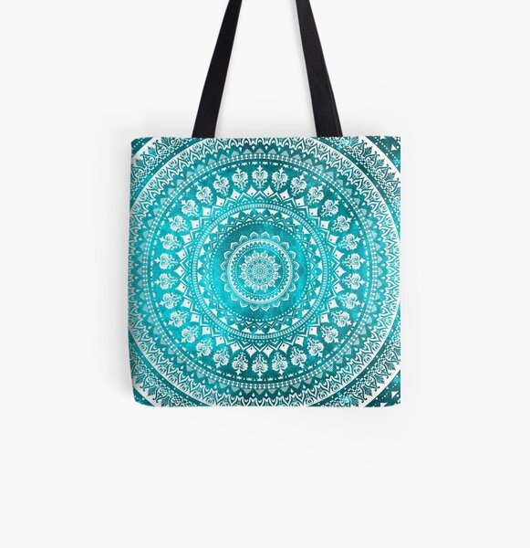 Mandala Turquoise All Over Print Tote Bag