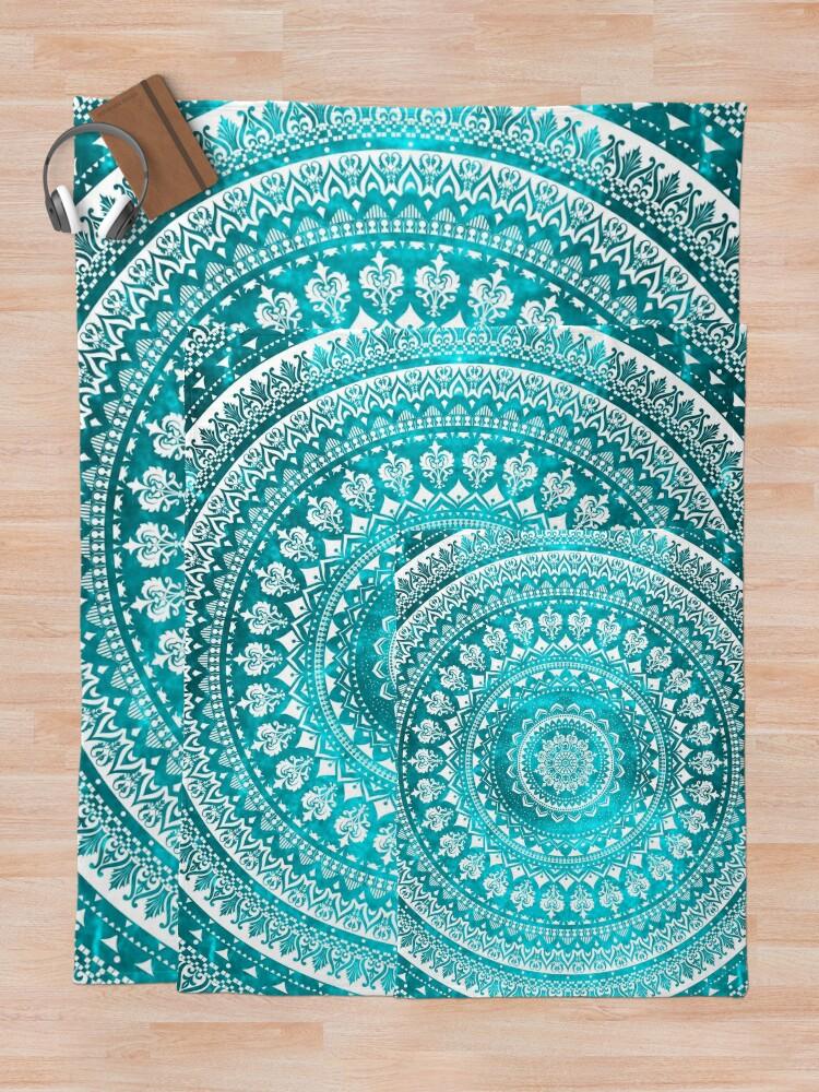 Alternate view of Mandala Turquoise Throw Blanket
