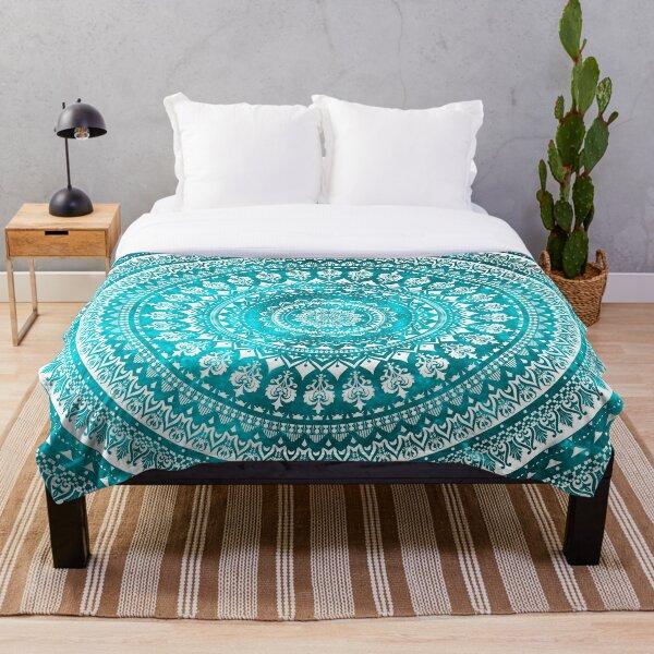 Mandala Turquoise Throw Blanket