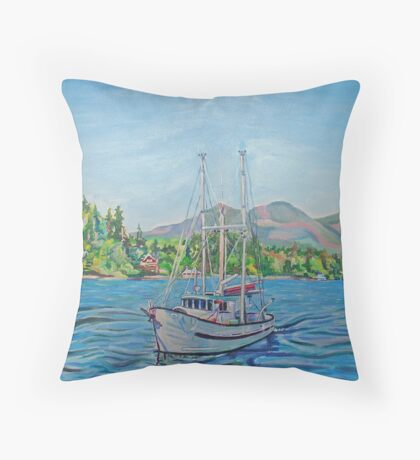 The Murralet At Winter Harbour Throw Pillow