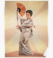 polygonal japanese dancer Poster