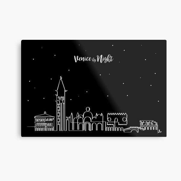 Skyline de Venecia de noche Lámina metálica