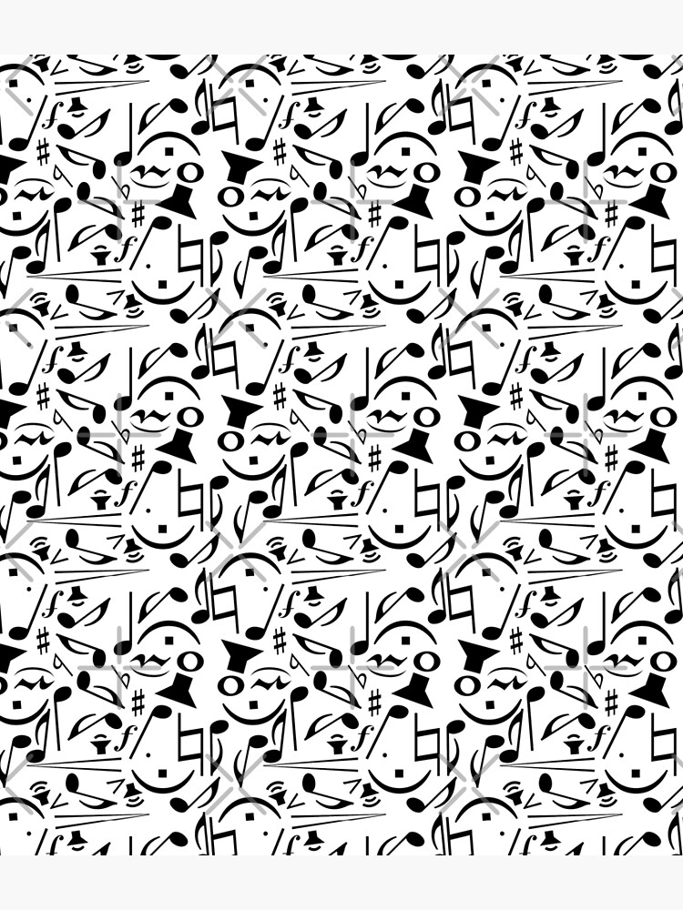 Music Notes Black and White Musical Print Pattern by Saburkitty