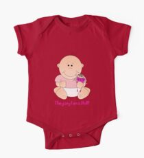 Cute Baby girl with doll and text Tee One Piece - Short Sleeve