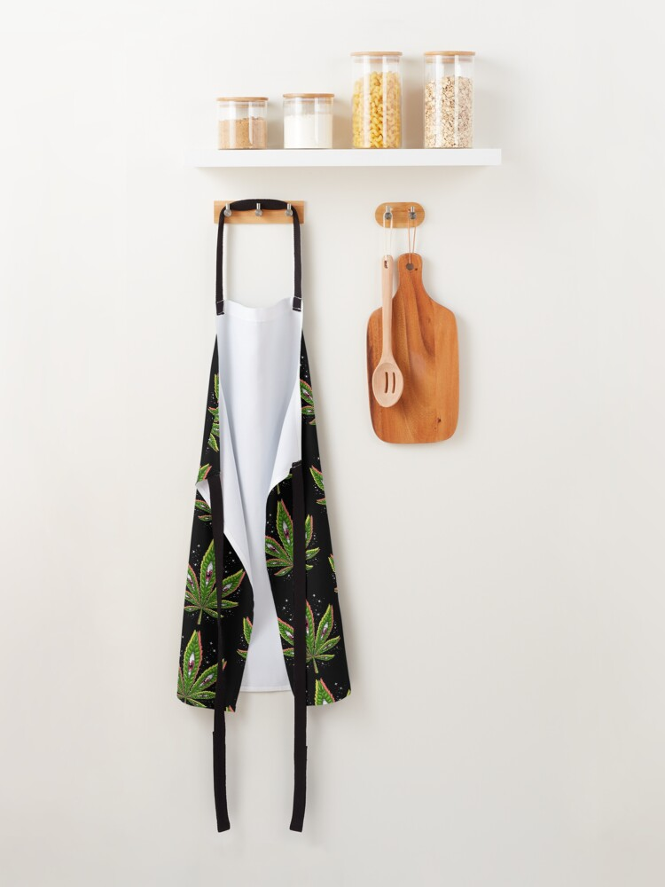 Alternate view of Psychedelic Weed Leaf Apron