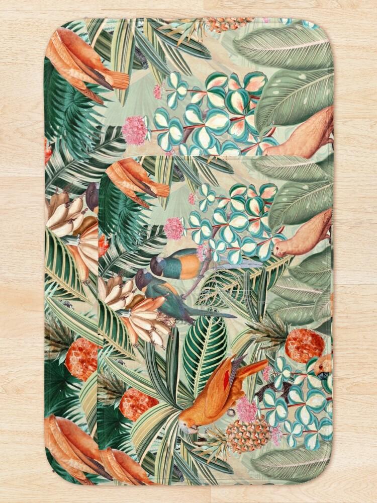 Alternate view of Vintage Orange Tropical Bird Jungle Garden Bath Mat