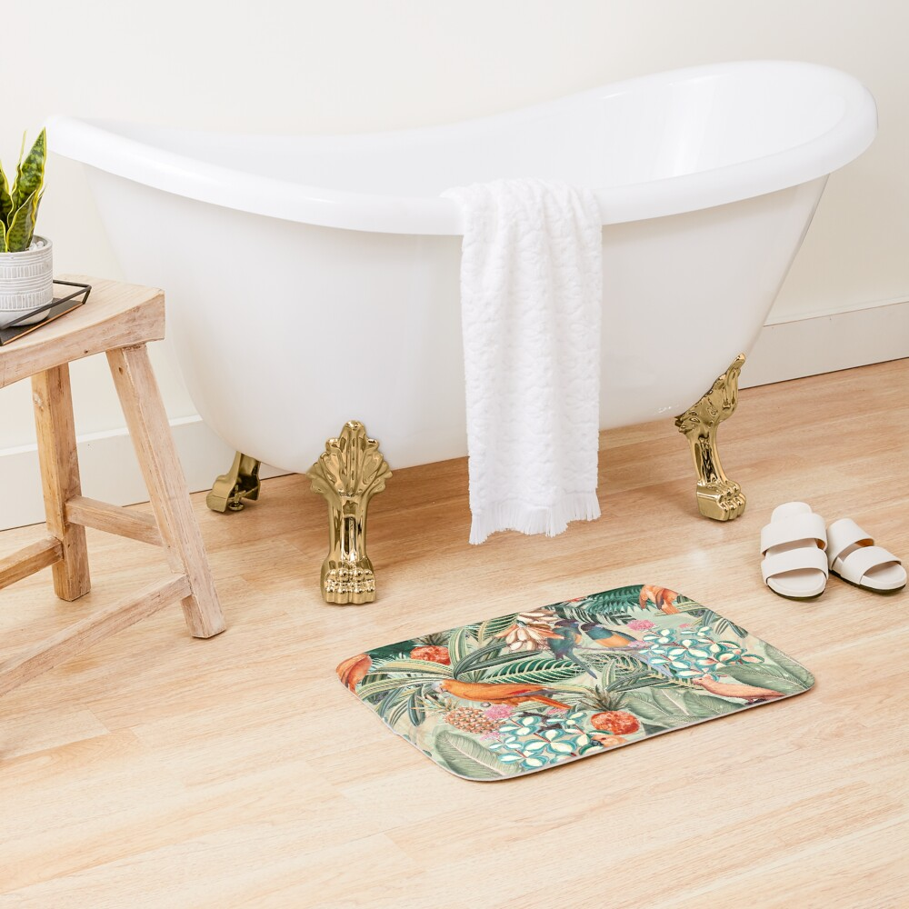 Vintage Orange Tropical Bird Jungle Garden Bath Mat