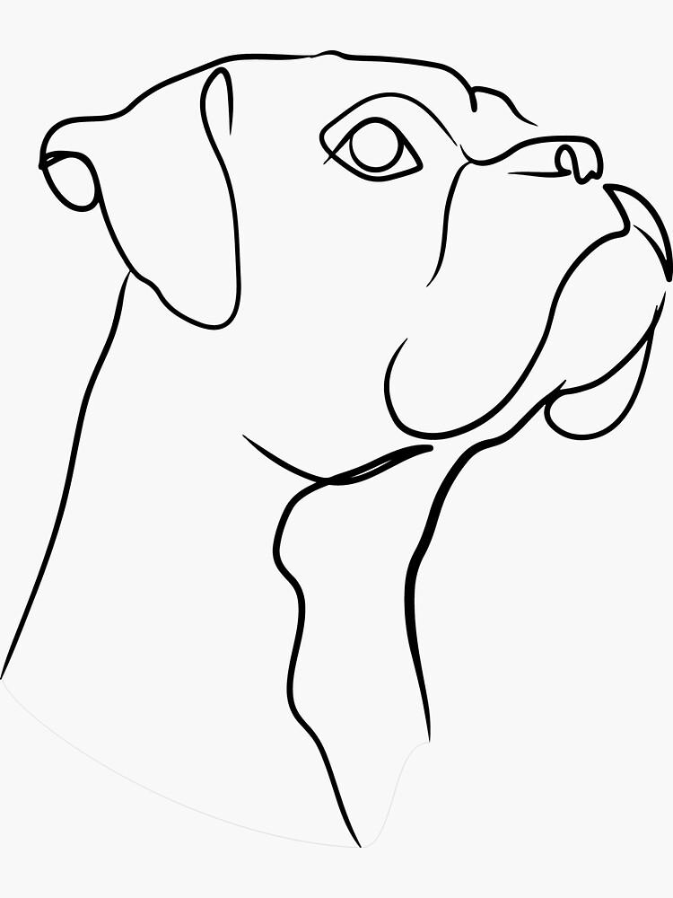 Boxer Dog Line Art by TailTrails