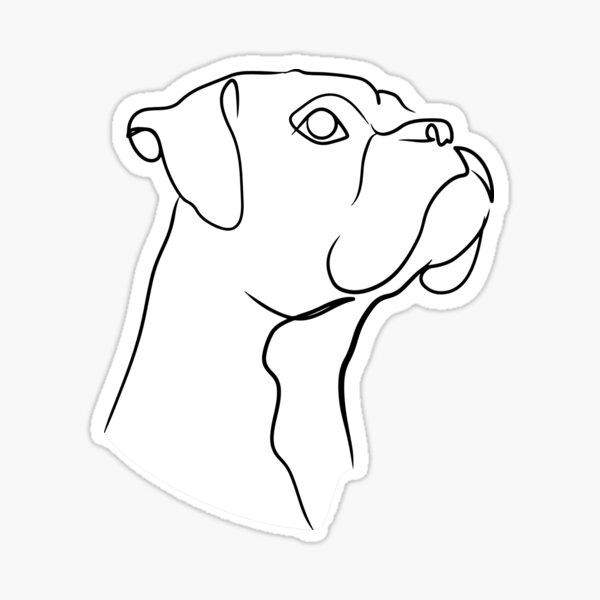 Boxer Dog Line Art Sticker