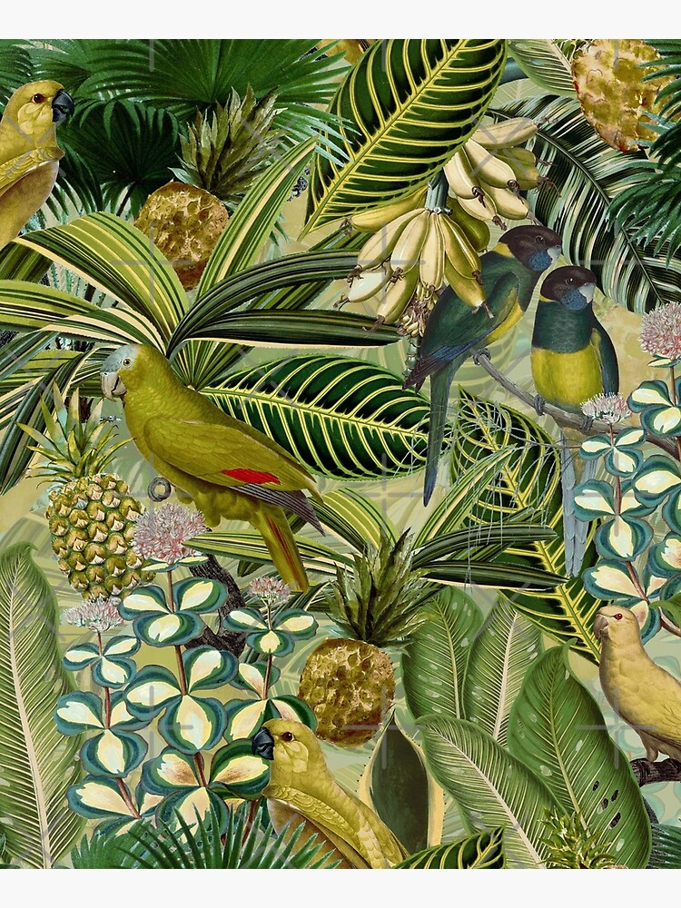 Vintage Green Tropical Bird Jungle Garden by UtArt