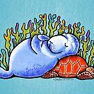 Sea Turtle and Manatee by offleashart