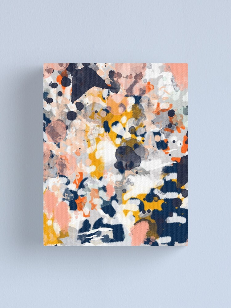 Alternate view of Stella - Abstract painting in modern fresh colors navy, orange, pink, cream, white, and gold Canvas Print