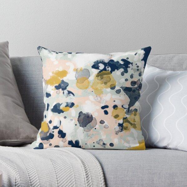 Esther - minimal trendy painting mint gold pastel nursery decor minimalist Throw Pillow