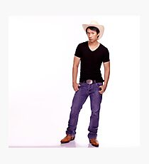 Steve Cowboys Up With Hat On White Photographic Print