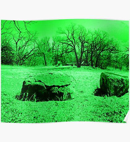 Neon Green Boulders Poster