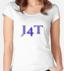 J4T in Blue Lettering Women's Fitted Scoop T-Shirt
