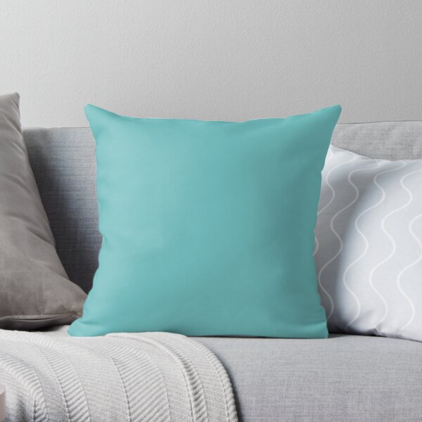 Midtone Aqua Blue Green Solid Color Pairs to Sherwin Williams Mariner SW 6766 Throw Pillow