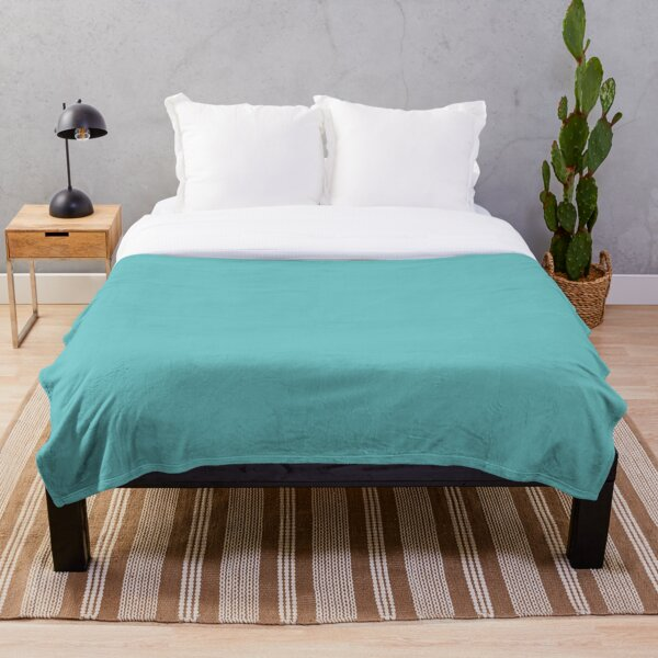 Midtone Aqua Blue Green Solid Color Pairs to Sherwin Williams Mariner SW 6766 Throw Blanket