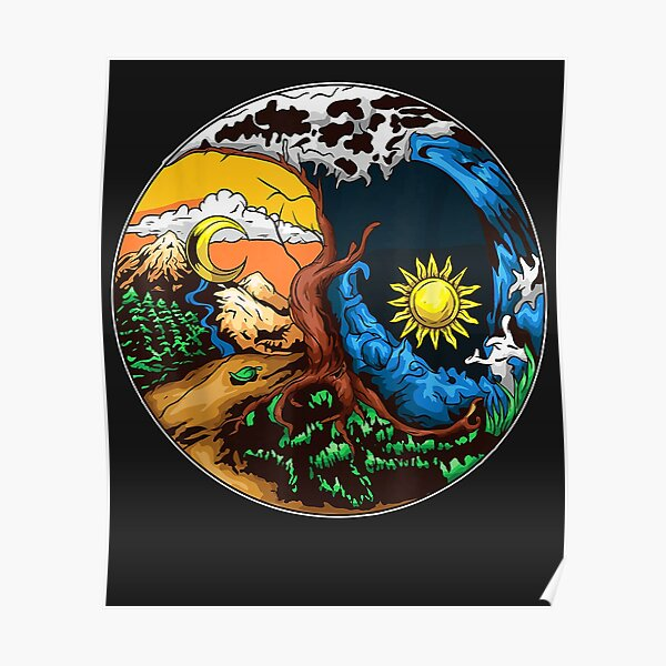 Love Your Mother Earth Yin Yang Save Plane  Poster