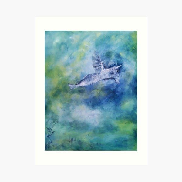 Ein Capricorn in den Wolken Kunstdruck