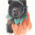 Big dog pumpkin watercolor by Mike Theuer
