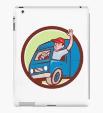 Delivery Man Waving Driving Van Circle Cartoon iPad Case/Skin